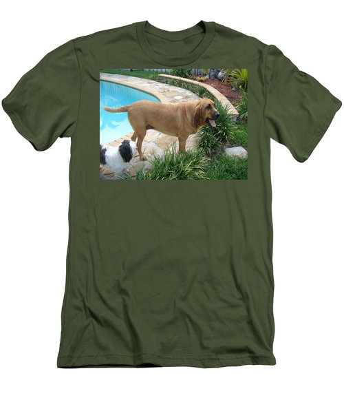 Cujo And Lucky By The Pool Men's T-Shirt (Slim Fit) by Val Oconnor