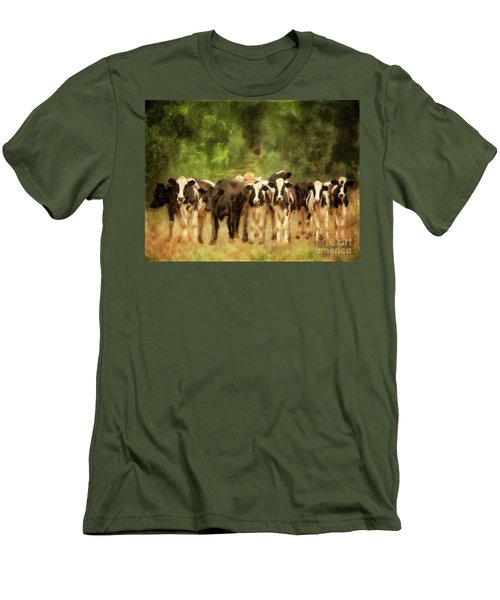 Men's T-Shirt (Athletic Fit) featuring the digital art Curious Cows by Lois Bryan