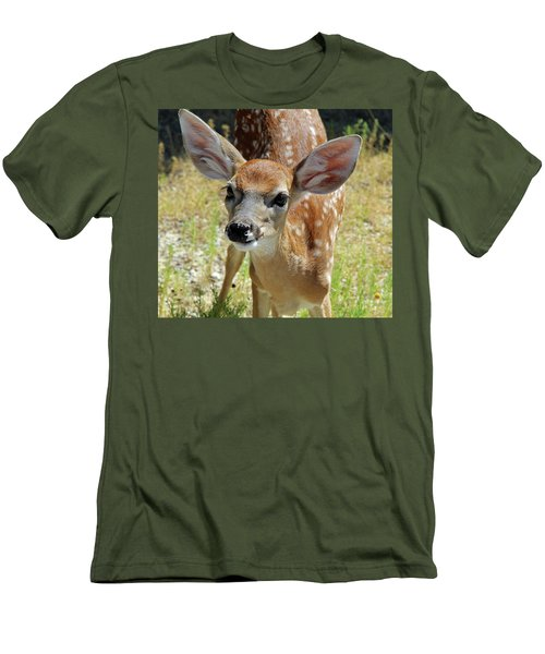 Curious Fawn Men's T-Shirt (Slim Fit) by Inspirational Photo Creations Audrey Woods