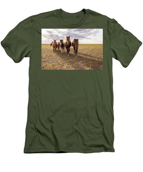 Men's T-Shirt (Slim Fit) featuring the photograph Curious Horses by Hitendra SINKAR
