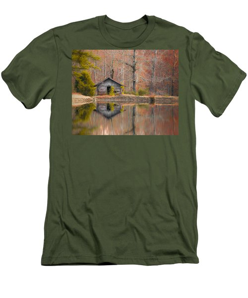Custom Crop - Cabin By The Lake Men's T-Shirt (Slim Fit) by Shelby  Young