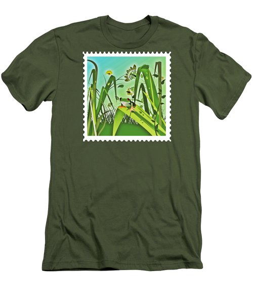 Cute Frog Camouflaged In The Garden Jungle Men's T-Shirt (Slim Fit) by Elaine Plesser