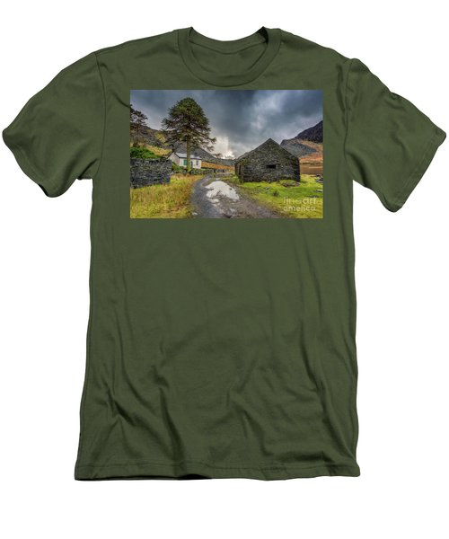 Men's T-Shirt (Slim Fit) featuring the photograph Cwmorthin Slate Ruins by Adrian Evans