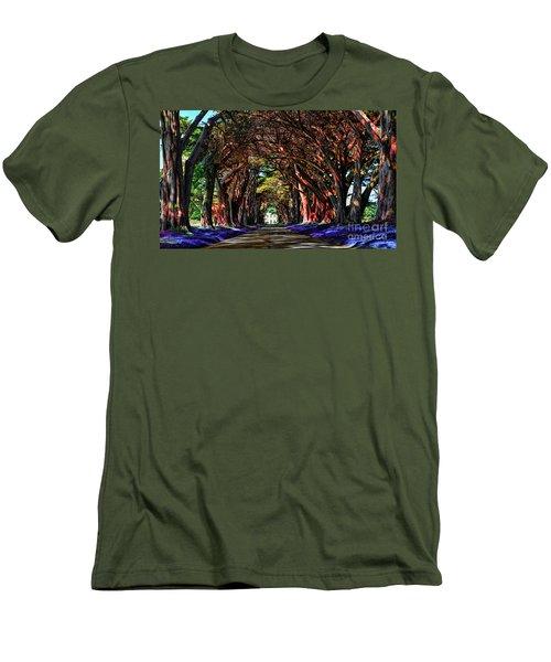 Men's T-Shirt (Slim Fit) featuring the digital art Cypress Tree Tunnel by Jason Abando