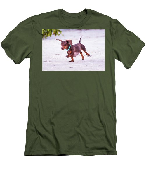 Dachshund On Beach Men's T-Shirt (Slim Fit) by Stephanie Hayes
