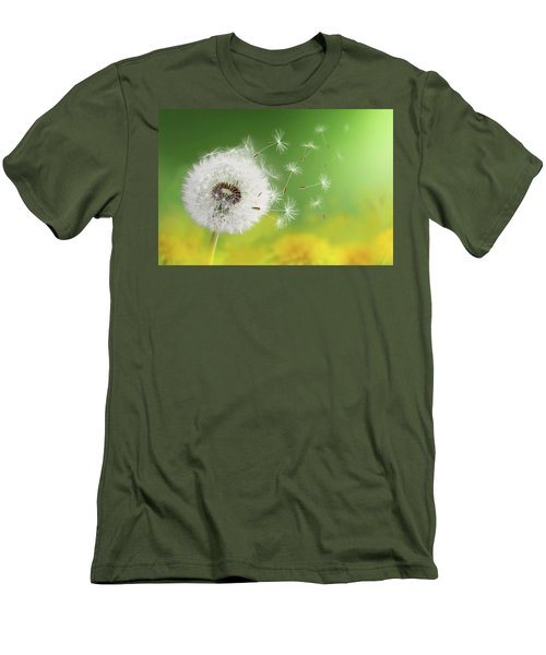 Men's T-Shirt (Slim Fit) featuring the photograph Dandelion Clock In Morning by Bess Hamiti