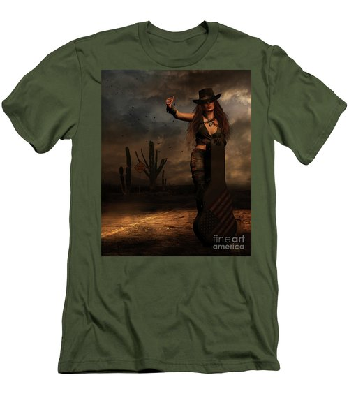 Men's T-Shirt (Slim Fit) featuring the digital art Dark Desert Highway by Shanina Conway