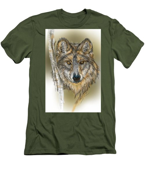 Dark Wolf With Birch Men's T-Shirt (Athletic Fit)