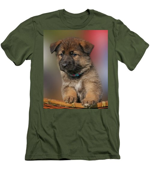 Men's T-Shirt (Slim Fit) featuring the photograph Darling Puppy by Sandy Keeton
