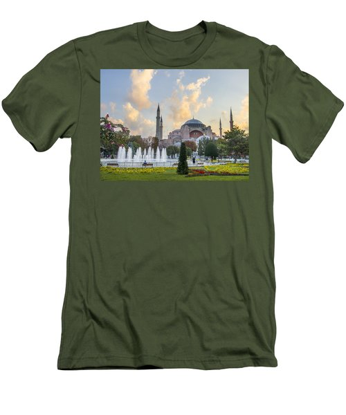 Men's T-Shirt (Slim Fit) featuring the photograph Dawn Hagia Sophia Istanbul by Sally Ross