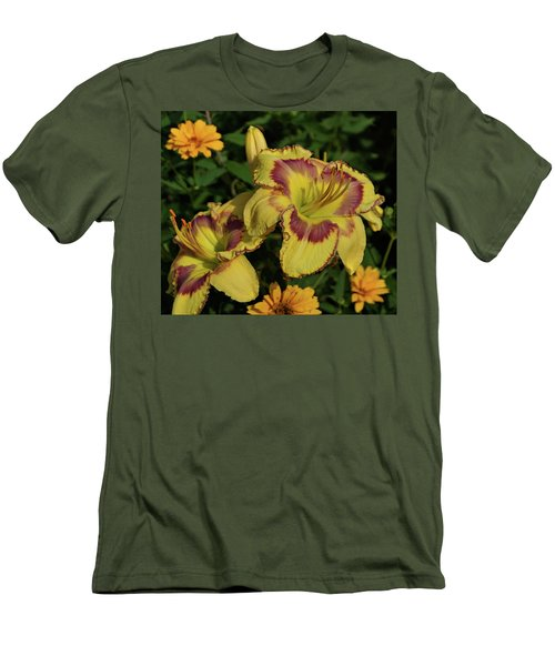 Men's T-Shirt (Slim Fit) featuring the photograph Daylilies And Zinnia by Sandy Keeton