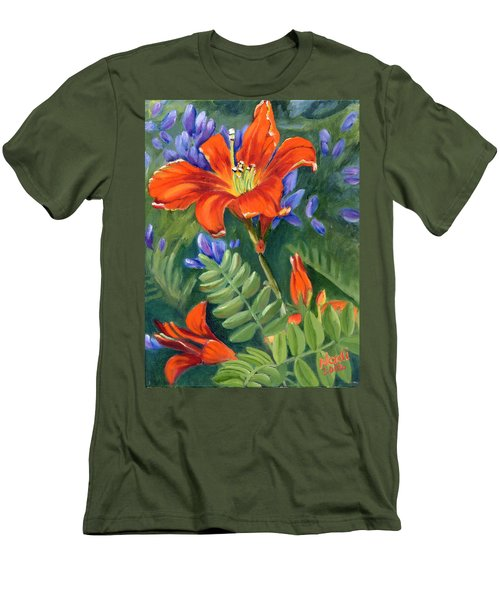 Men's T-Shirt (Slim Fit) featuring the painting Daylilies by Renate Nadi Wesley