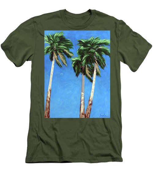 Men's T-Shirt (Slim Fit) featuring the painting Daytime Moon In Palm Springs by Linda Apple