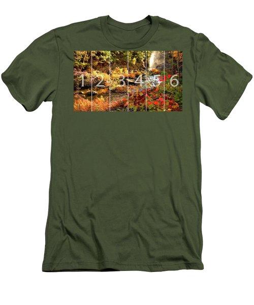 Dead River Falls Marquette Michigan Panoramic Map Men's T-Shirt (Slim Fit) by Michael Bessler
