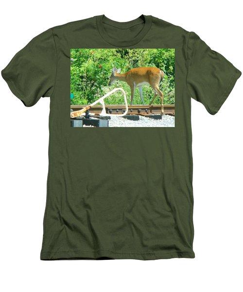 Deer Crossing Men's T-Shirt (Slim Fit) by J R Seymour