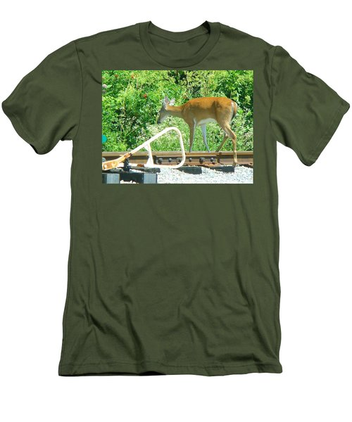 Deer Crossing Men's T-Shirt (Athletic Fit)
