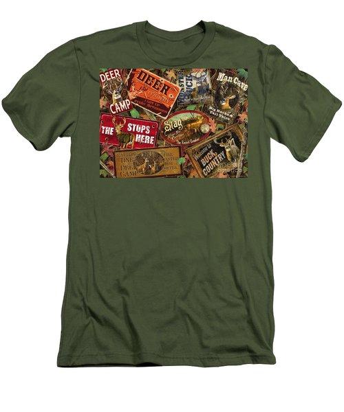 Deer Sign Collage Men's T-Shirt (Athletic Fit)