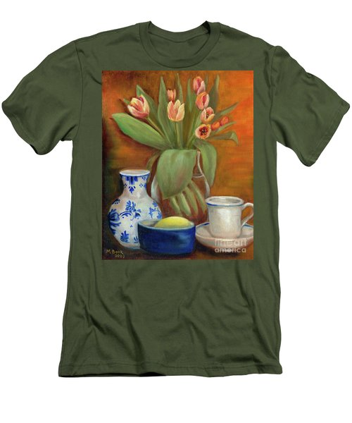 Delft Vase And Mini Tulips Men's T-Shirt (Slim Fit) by Marlene Book