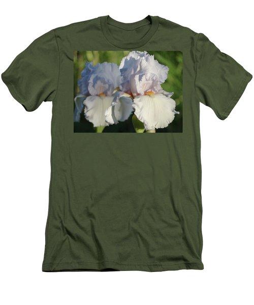 Delicate White Iris Men's T-Shirt (Slim Fit) by Rebecca Overton