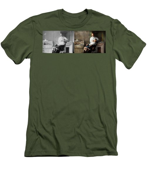 Men's T-Shirt (Athletic Fit) featuring the photograph Dentist - Good Oral Hygiene 1918 - Side By Side by Mike Savad
