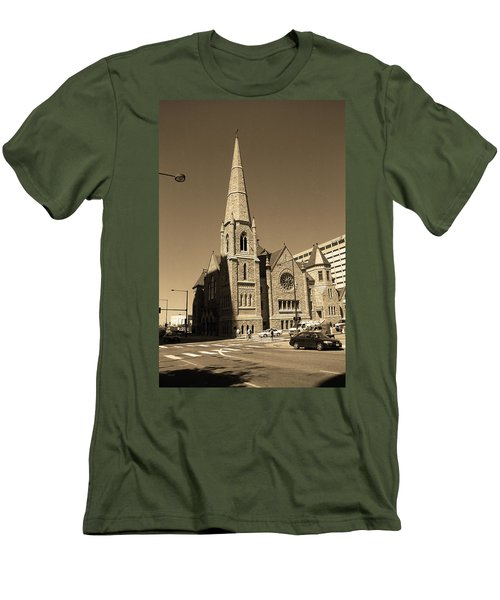 Men's T-Shirt (Slim Fit) featuring the photograph Denver Downtown Church Sepia by Frank Romeo