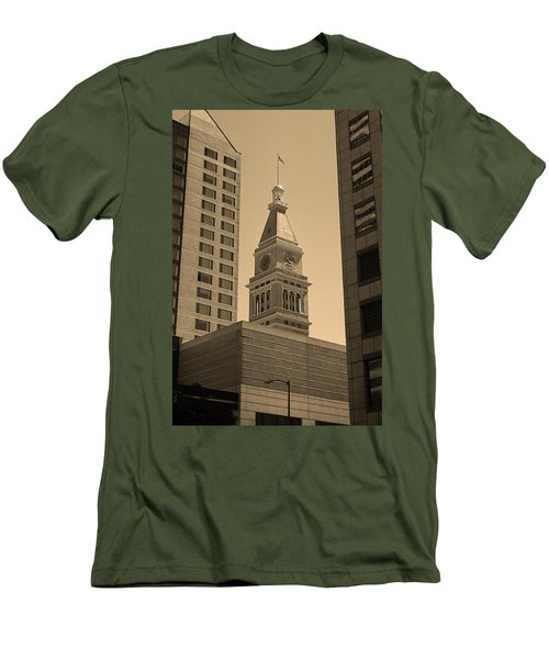 Men's T-Shirt (Slim Fit) featuring the photograph Denver - Historic D F Clocktower 2 Sepia by Frank Romeo
