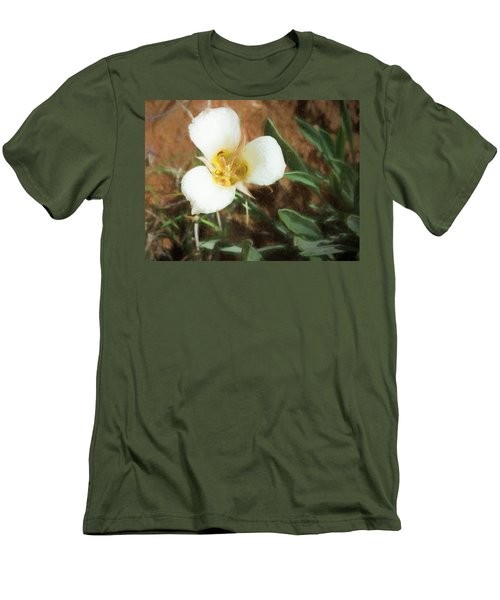 Desert Mariposa Lily Men's T-Shirt (Slim Fit) by Penny Lisowski