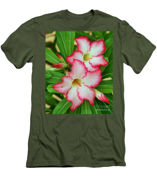 Desert Rose With Buds And Water Men's T-Shirt (Slim Fit) by Larry Nieland