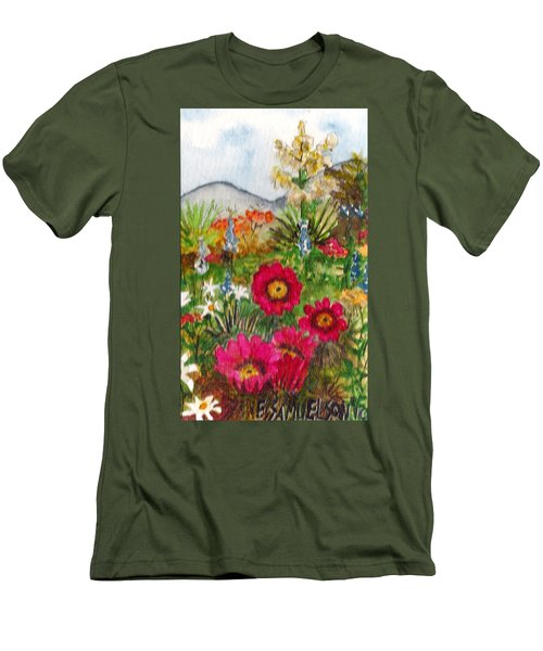 Men's T-Shirt (Slim Fit) featuring the painting Desert Spring by Eric Samuelson