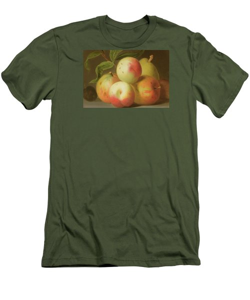 Detail Of Apples On A Shelf Men's T-Shirt (Slim Fit) by Jakob Bogdany