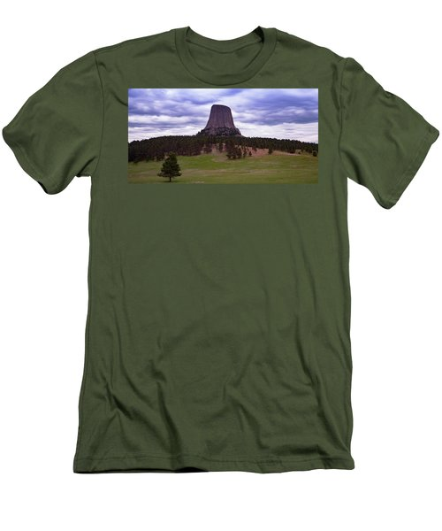 Men's T-Shirt (Athletic Fit) featuring the photograph Devil's Tower 2 by Gary Lengyel