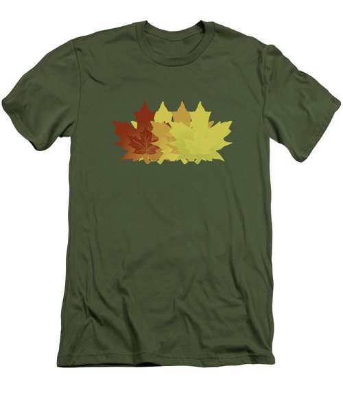 Men's T-Shirt (Slim Fit) featuring the digital art Diagonal Leaf Pattern by Methune Hively