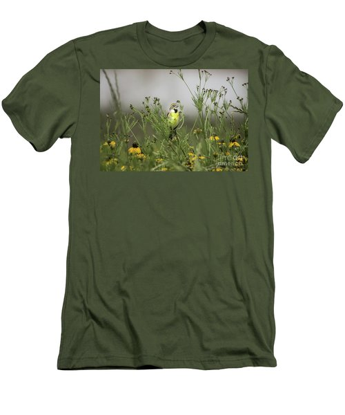 Men's T-Shirt (Slim Fit) featuring the photograph Dickcissel With Mexican Hat by Robert Frederick