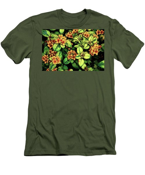 Digital Painting Quilted Garden Flowers 2563 Dp_2 Men's T-Shirt (Athletic Fit)