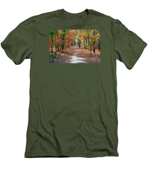 Autumn Scene Dirt Road Men's T-Shirt (Athletic Fit)