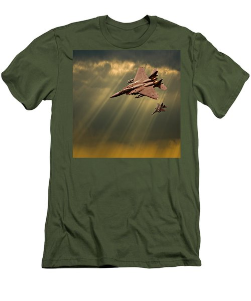 Men's T-Shirt (Slim Fit) featuring the photograph Diving Eagles by Meirion Matthias