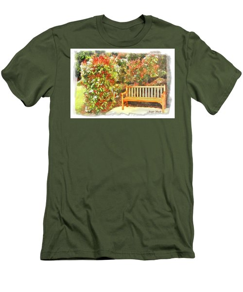 Men's T-Shirt (Slim Fit) featuring the photograph Do-00122 Inviting Bench by Digital Oil