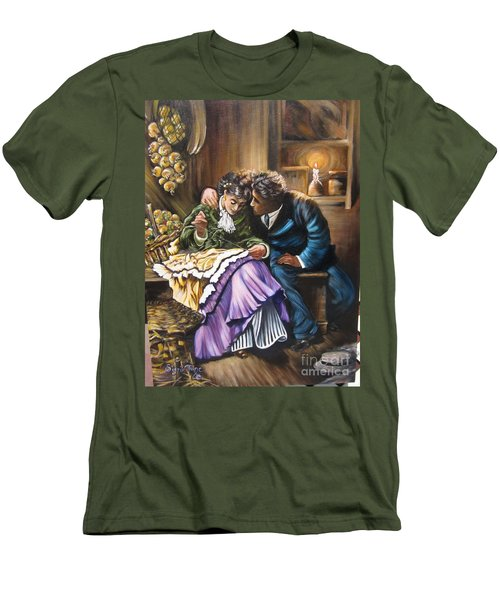 Men's T-Shirt (Slim Fit) featuring the painting Do You Love Me? by Sigrid Tune