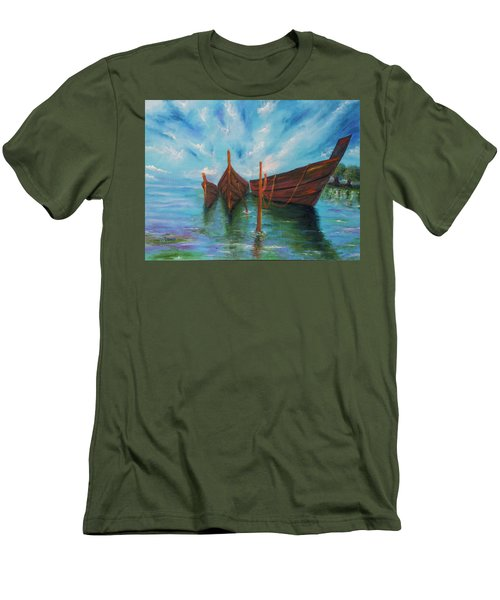 Men's T-Shirt (Slim Fit) featuring the painting Docking by Itzhak Richter