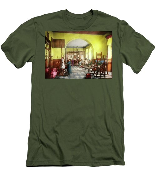 Men's T-Shirt (Athletic Fit) featuring the photograph Doctor - Physical Therapist - Welcome To The A Traction 1918 by Mike Savad