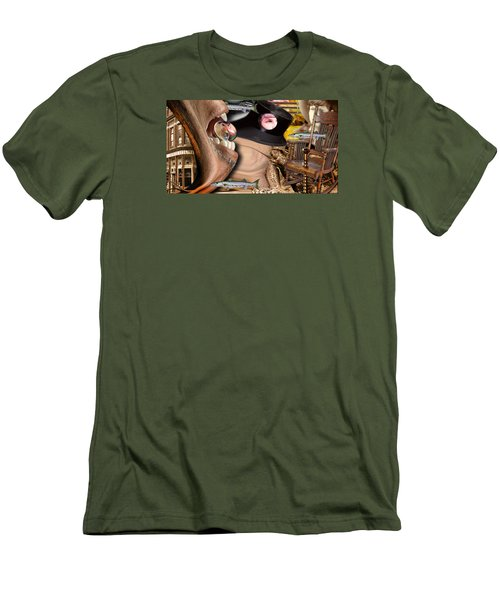 Men's T-Shirt (Slim Fit) featuring the digital art Does Your Dog Bite by Steve Sperry