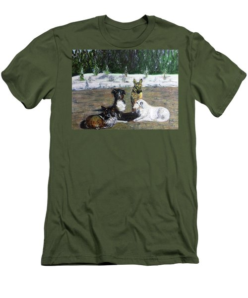 Dogs Having A Meeting Men's T-Shirt (Athletic Fit)