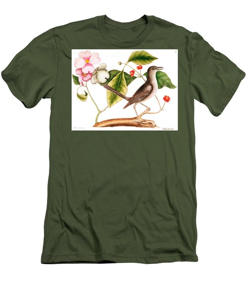 Dogwood  Cornus Florida, And Mocking Bird  Men's T-Shirt (Slim Fit) by Mark Catesby