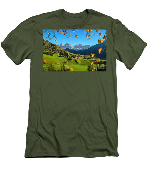Dolomites Mountain Village In Autumn In Italy Men's T-Shirt (Slim Fit) by IPics Photography