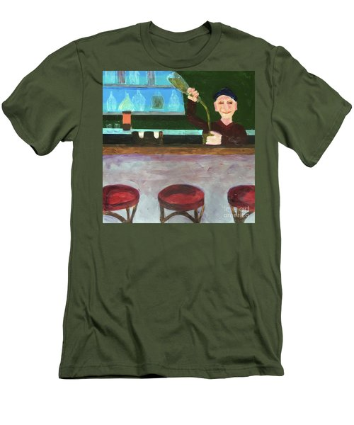 Men's T-Shirt (Athletic Fit) featuring the painting Don At Tres Gringos Bartending by Donald J Ryker III