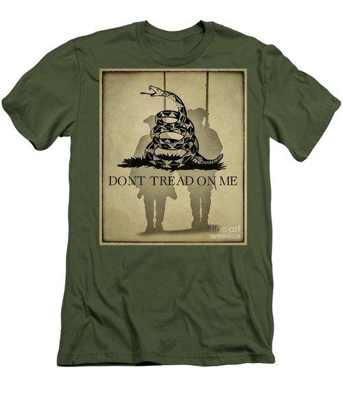 Don't Tread On Me   Rattlesnake Flag Men's T-Shirt (Slim Fit) by Randy Steele