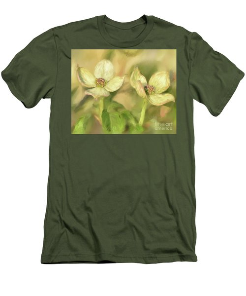 Men's T-Shirt (Slim Fit) featuring the digital art Double Dogwood Blossoms In Evening Light by Lois Bryan