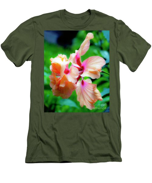 Double Peach Hibiscus Two Men's T-Shirt (Athletic Fit)