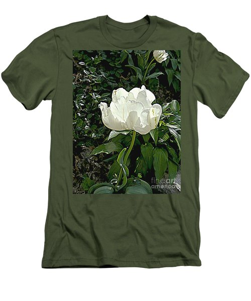 Men's T-Shirt (Slim Fit) featuring the photograph Double Tulip In White by Nancy Kane Chapman