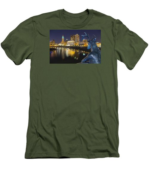 Men's T-Shirt (Slim Fit) featuring the photograph Downtown Deer View Columbus by Alan Raasch